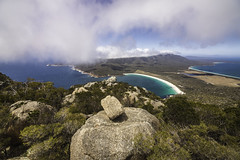 Overlooking the Wineglass Bay in Tasmania