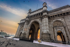 Peeking through gateway (views@vista) Tags: architecture building clouds colors dawn gatewayofindia hdr india monuments mumbai old outdoor sky sunrise