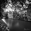 Canals And Bridges Of Bruges III (Alec Lux) Tags: bnw architecture belgium blackandwhite branches bricks bridge bruges brugge building buildings canal city daylight house landscape leave longexposure medieval nature old street tree water vlaanderen be