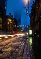 disappearing Beetham Tower and traffic trails (PDKImages) Tags: manchester mcr lovemanchester city urban misty fog longexposure light trails reflections