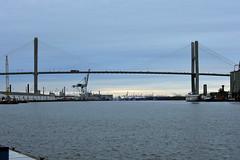 Up the river (Jimmie Fisher) Tags: talmadgememorialbridge containercranes savannahgeorgia savannahriver sunset