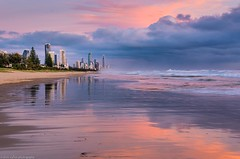 early morning storm (andrew.walker28) Tags: thunderstorm storm rain showers sea ocean beach sand sunrise colours seascape reflections orange red yellow surfers paradise gold coast queensland australia