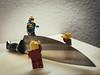 Sur le fil / on the edge (Frédéric J) Tags: lego legophotography toyphotography toy story knife kitchen fil edge dangerous slack line