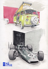 VW T2 + Brabham BT23-5 (1967 Jochen Rindt) (Namtra) Tags: brabham bt23 brabhambt23 jochenrindt retroclassicscologne volkswagen t2 vwt2 vw oldtimer classic carclassic classiccar oldtimermesse bleistift pencil aquarell watercolour edding blackedding gelpen gelstift uskcologne usknrw urbansketchers
