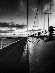 Vanishing Point (sablott) Tags: uk bridge england united kingdom river humber perspective blackwhite