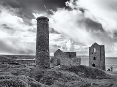 The old tin mine (Tim Ravenscroft) Tags: cornwallhasselbladx1d tinmine stagnes whealcoates buildings clouds coast architecture monochrome blackandwhite blackwhite hasselblad hasselbladx1d x1d