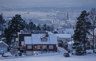 Winter in Oslo seen from Nordre Skøyen Hovedgård
