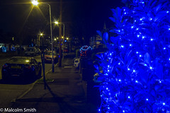 Christmas Approaches (M C Smith) Tags: pentax k3 christmas lights blue cars parked suburbia pavement kerb telegraphpoles van white taxi red grass hedges decorations stars reflections night dark