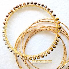 Solstice Bangle gold (vashtirama) Tags: designingvashti crochetjewelry bangle crochetbracelet coveredring beaded beads