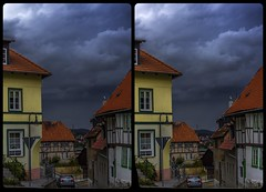 Nimbostratus over Gernrode 3-D / CrossEye / Stereoscopy / HDR / Raw (Stereotron) Tags: sachsenanhalt saxonyanhalt ostfalen harz mountains gebirge ostfalia hardt hart hercynia harzgau gernrode architecture fachwerk halftimbered house stud work antiquated medieval middleages streetphotography europe germany crosseye crosseyed crossview xview cross eye pair freeview sidebyside sbs kreuzblick 3d 3dphoto 3dstereo 3rddimension spatial stereo stereo3d stereophoto stereophotography stereoscopic stereoscopy stereotron threedimensional stereoview stereophotomaker stereophotograph 3dpicture 3dglasses 3dimage twin canon eos 550d yongnuo radio transmitter remote control synchron kitlens 1855mm tonemapping hdr hdri raw