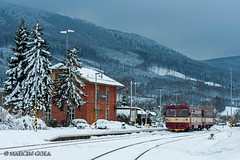 810 052-1 by D29-1 - December 30, 2017 | Veřovice (Czech Rep.) | DMU 810.052-1 as passenger train Os23111 from Veřovice to Studénka, train is waiting for departure time.