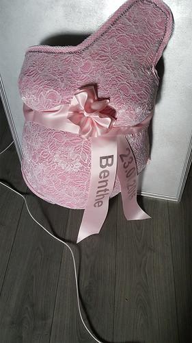 70mm roze lint met zilver glimmend bedrukt