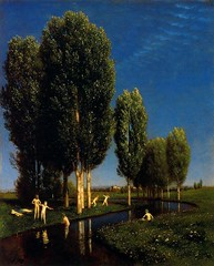 Arnold Bocklin — The Summer's Day, 1881. Painting: oil on panel, 61 x 50 cm. Galerie Neue Meister, Dresden. SymbolismTrees1880s (ArtAppreciated) Tags: fineart painting blogs tumblr artblogs artappreciated artoftheday artofdarkness artofdarknessco artofdarknessblog arnold bocklin symbolism 1880s galerie neue meister swiss artists outdoors nature trees forest bathers pastoral date1881 19th century realism