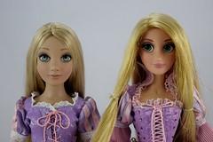 Tonner vs Disney Store LE Rapunzel Dolls - Standing Side By Side - Portrait Front View (drj1828) Tags: tonner rapunzel 16inch doll limitededition le1000 purchase deboxed disneystore 2011 le5000 17inch sidebyside comparison review