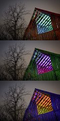 RGB Barn Rafters Triptych (Notley Hawkins) Tags: trio triad triptych httpwwwnotleyhawkinscom notleyhawkinsphotography notley notleyhawkins 10thavenue lightpainting trees fall outdoors sky 2017 november night nocturne evening tree blue light bucolic ruralfarm missouri farm missouriphotography ruralphotography midwest ruralusa 光绘 光繪 lichtmalerei pinturadeluz ライトペインティング प्रकाशपेंटिंग barn rgb red green roof rafters timbers slats wood