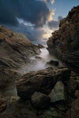 Renaissance-rock---Blue-stone-drake-2 (Robalabob1) Tags: porth dafarch wales anglesey holy island rocks schist mica clouds stone long exposure sea ocean water mist sky landscape seascape rock