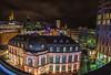 Between Old and Modern (M-Z-Photo) Tags: frankfurtammain hessen deutschland de langzeitbelichtung skyline nachtaufnahme grosstadt wolkenkratzer architektur panorama