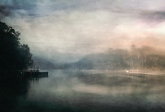 turning circles . . . (YvonneRaulston) Tags: australia nsw tuross head water watercolour lake bay swan dock jetty river sunrise mist fog atmospheric art colour creativeartphotography calm clouds dream emotive texture peaceful fineartgrunge soft glow light moody moments morning photoshopartistry