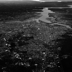 DC under cloudy skies (ep_jhu) Tags: x100f washington river grid fuji bw roads acros dc fujifilm aerial districtofcolumbia unitedstates us