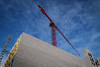Construction (tim.perdue) Tags: downtown urban city columbus ohio olympus omd em10mkii mft micro four thirds tamron 14150mm construction crane building site wall cinder block concrete red sky clouds blue corner angle geometry shape color yellow steel scaffold rebar