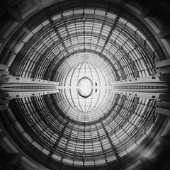 ...illusionnoisulli... (*ines_maria) Tags: humaningeometry illusion light futuristic modern dome cupola architecture geometry blacketnoire bw human person urbanart city psd reflection monochrome