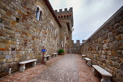 Castello di Amorosa in California (` Toshio ') Tags: california northerncalifornia toshio castellodiamorosa castle napavalley napa winery wine fujixe2 xe2 bench history architecture calistoga
