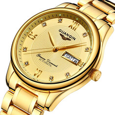 GUANQIN GJ16050 Luxury Men Mechanical Watch Gold Fine Steel Strap Automatic Wrist Watch (1148538) #Banggood (SuperDeals.BG) Tags: superdeals banggood jewelry watch guanqin gj16050 luxury men mechanical gold fine steel strap automatic wrist 1148538