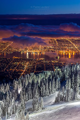 Vancouver City at Dusk from the wintry peak of Grouse Mountain (PIERRE LECLERC PHOTO) Tags: vancouver bc britishcolumbia canada grousemountain winter dusk mountan skiresort city snow wintry outdoors urban landscape canadianlandscapes travel places snowboarding skiing pierreleclercphotography canon20d adventure wallart prints
