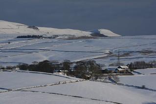 Farm in Winter, Peak District National Park, Derbyshire, England.