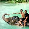 Babar's bath (Moretos) Tags: laos élephant eauturquoise bath babar copain smile