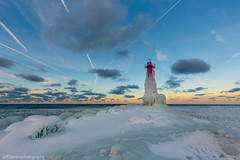First Light on the Pere Marquette Lighthouse (golferboy2321) Tags: michigan muskegon canon 5d3 16mm dawn lighthouse ice snow winter