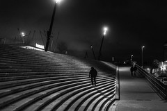steps, one by one / when the night  calls (Özgür Gürgey) Tags: 2018 50mm bw baumwall d750 darkcity hamburg nikon architecture evening grainy lines lowlight people steps street