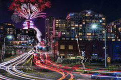 Seattle Welcomes the Year 2018 (TIA International Photography) Tags: seattle spaceneedle broad street belltown downtown urban landscape cityscape night newyear 2018 newyears holiday celebration fireworks firecrackers lighttrails lightstream illumination railroad crossing hill ascending landmark icon waterfront apartment condo condominium development olympic sculpture park myrtle edwards alaskan way lamppost traffic road happy windows washington pacificnorthwest tia tosinarasi building city center centre ©tiainternationalphotography