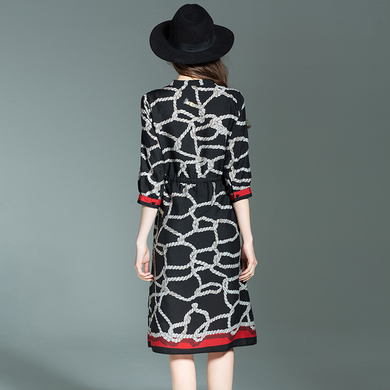 2017 summer new European high-end silk dress female slim slim long paragraph 100% silk skirt