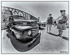 1949 Ford F-3 pickup truck from Newfoundland (kenmojr) Tags: 2017 antique atlanticnationals auto car classic moncton newbrunswick show vehicle vintage centennialpark downtown kenmo kenmorris carshow ford 1949 f3 pickup truck nikon bower newfoundland nfld blackwhite blackandwhite bw monotone