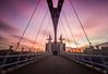 Salford Quays Lift Bridge: (northcountrygirl) Tags: sunset redsky salford manchester mediacityuk mediacity bbc itv lowry bridge quay longexposure salfordquays milleniumliftbridge