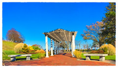 Brewster Gardens (Timothy Valentine) Tags: 1117 large bench sky pergola 2017 monday plymouth massachusetts