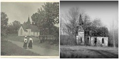 then and now (David Sebben) Tags: past present hawkeye methodist church huron oakville iowa abandoned black white