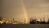 Sometimes everything fits (katrin glaesmann) Tags: hamburg germany sunshine cranes clouds rainbow harbour elbe churches landungsbrücken dock glückmussmanhaben