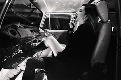 Kicking Back (OzGFK) Tags: 35mm asia kodak nikkor nikon portrait singapore thegreatescapebar theprojector trix analog beautiful blackandwhite bw fashion femmefatale film model monochrome night pretty streetphotography urban woman volkswagen van noir smoking cigarette smokes dragon