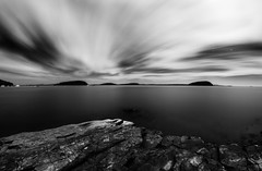 Bar Harbor, Maine (M Zappano) Tags: maine newengland harbor barharbor bahhabbahh rocks le longexposure night nighttime clouds water port boats boat island bw 17mm canon 50d 9stop nd ndfilter 256 256seconds