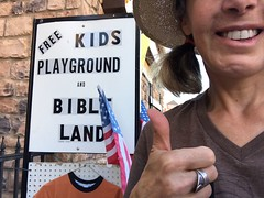 Free Kids Playground and Bible Land (Lynn Friedman) Tags: touristattraction sign religion pandering roadtrip bible bibleland cornpalace lynn thumbsup mitchell south dakota 57301