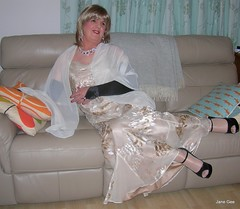 Love seat (janegeetgirl2) Tags: transvestite crossdresser crossdressing tgirl tv ts monsoon acapulco silk evening dress heels glamour chiffon shawl stilettos high black acetate lining jane gee cowl neck opera gloves