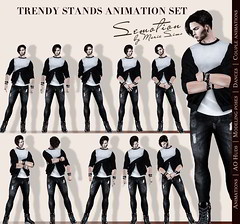 SEmotion Trendy Stands Set - 10 HQ male standing animations (SEmotion by Marie Sims) Tags: secondlife ao animations hud sl semotion pose