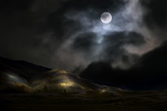 From Iceland. (Tóta. 27.12.1964.) Tags: landscape nature moon mountain clouds sky grass iceland ísland