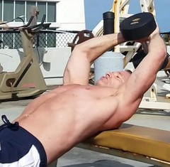 dumbbell pullovers (ddman_70) Tags: shirtless pecs chest lats muscle workout gym outdoors dumbbellpullovers