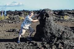 Is He Holding It Up or Pushing It Over? (wyojones) Tags: trails maunaulu hawai'ivolcanoesnationalpark treemolds ʻōhiʻatrees lavaflows basalt cooling solidification forest trees encased moldsoflava lavatrees family david wyojones
