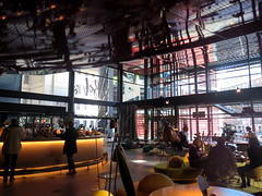 Madrid, cafeteria in Museo de Reina Sofia located in the Jean Nouvel building (Sokleine) Tags: cafeteria restaurant nouvel jeannouvel modern design contemporary indoor interior furniture mobilier madrid espana espagne spain architecture