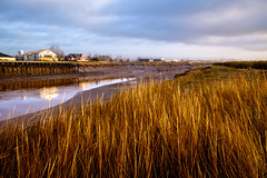 port of call (Port View) Tags: fujixe2 portwilliams novascotia canada cans2s 2017 fall autumn river cornwallisriver reflection water tide tidal lowtide grass bank riverbank morning light mist dyke