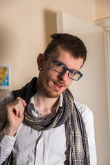 JC 2017-21 (mpearce661) Tags: c2017markpearce 6dmark2 december2017 jamesconnolly modelcanon james young goodlooking male handsome sexy glasses spectacles hat scarf jacket pierced lip tongue model apartment flat pose casual